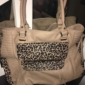 Steve Madden leopard shoulder tote purse